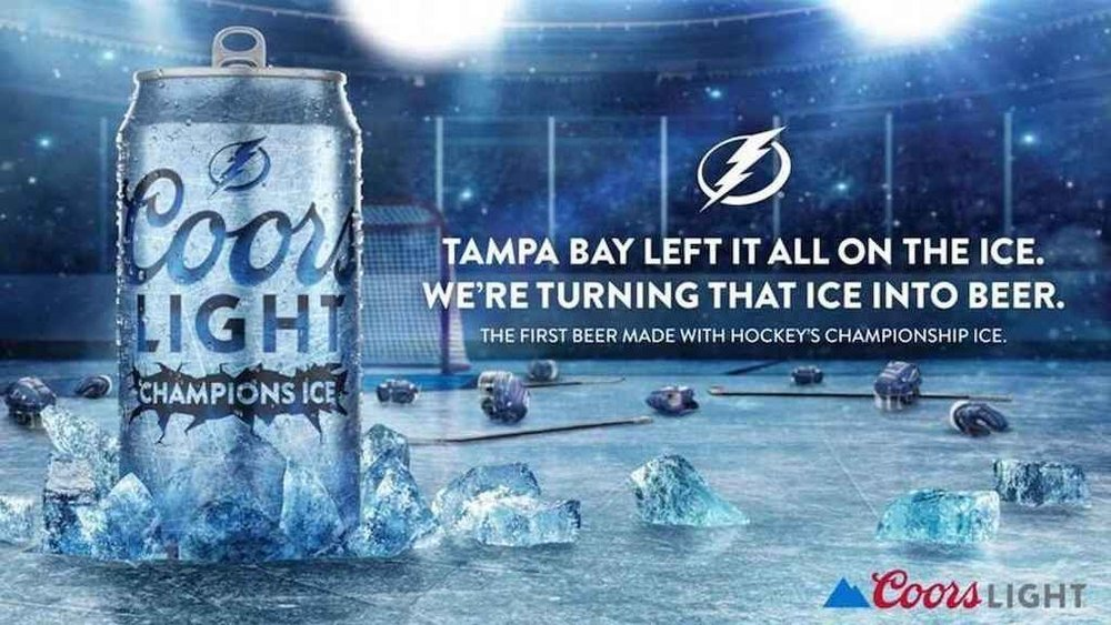 Body image for Coors courts hockey fans by brewing beer with Stanley Cup ice