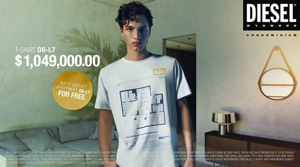 Body image for Diesel makes obscenely priced T-shirts to promote real estate venture
