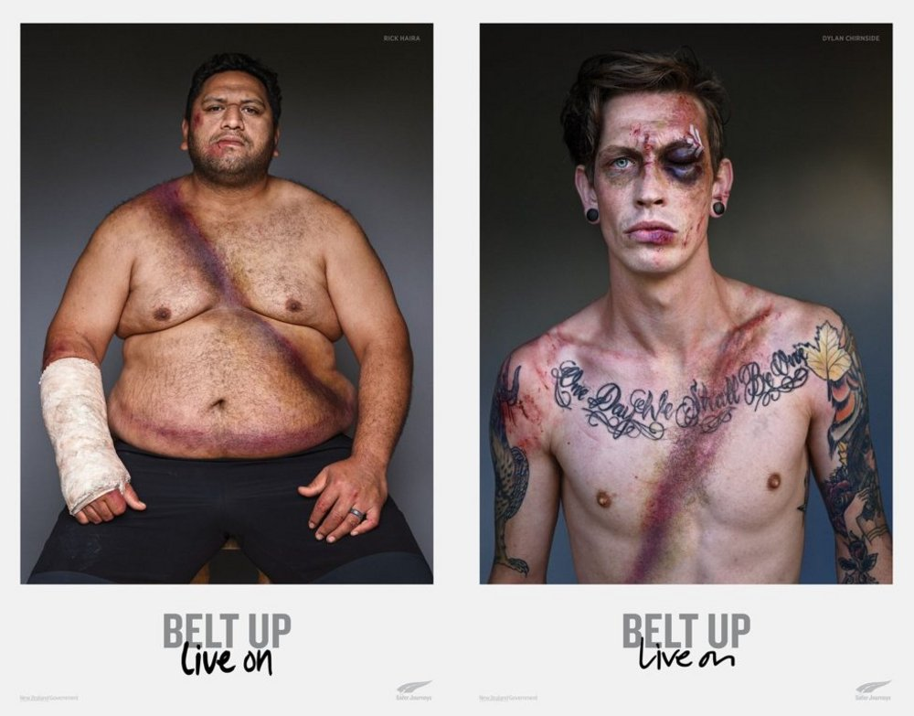 Body image for Graphic New Zealand campaign shows how seatbelts save lives