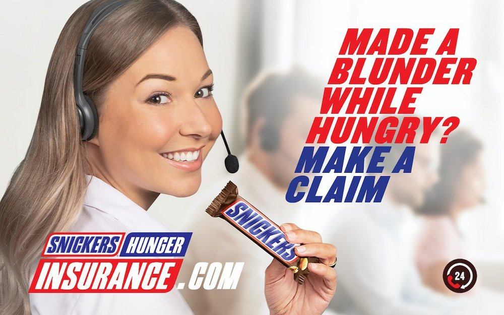 Body image for Snickers protects against 'hunger blunders' with insurance promo