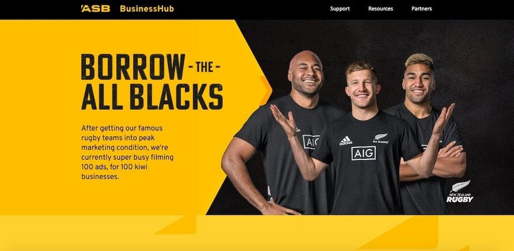 Body image for ASB Bank loans All Blacks to struggling businesses