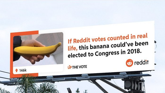Reddit's first brand campaign compares upvotes and elections